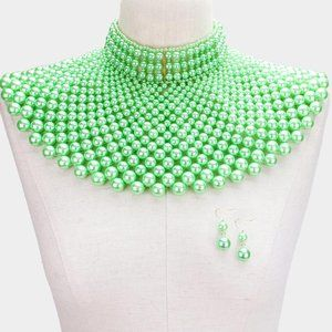 Mint Green Pearl Armor Bib Choker Necklace